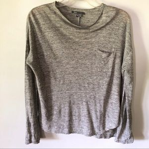 Vince Pocket T-Shirt Long Sleeve Gray Oversized
